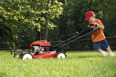 kid with lawnmower